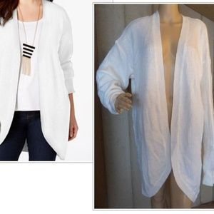Extra Touch Plus Size Ribbed Open Front Cardigan,